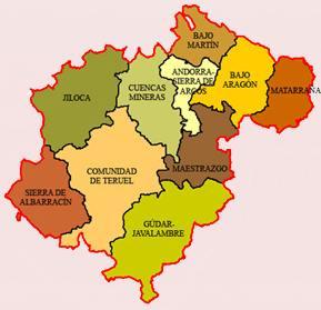Mapa de las comarcas de Teruel