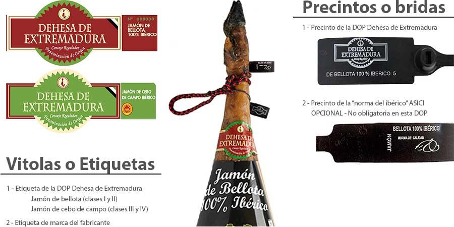 Jamón ibérico bellota Extremadura etiquetado