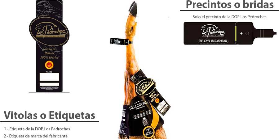 Jamón ibérico bellota Lo Pedroches con etiqueta y precinto