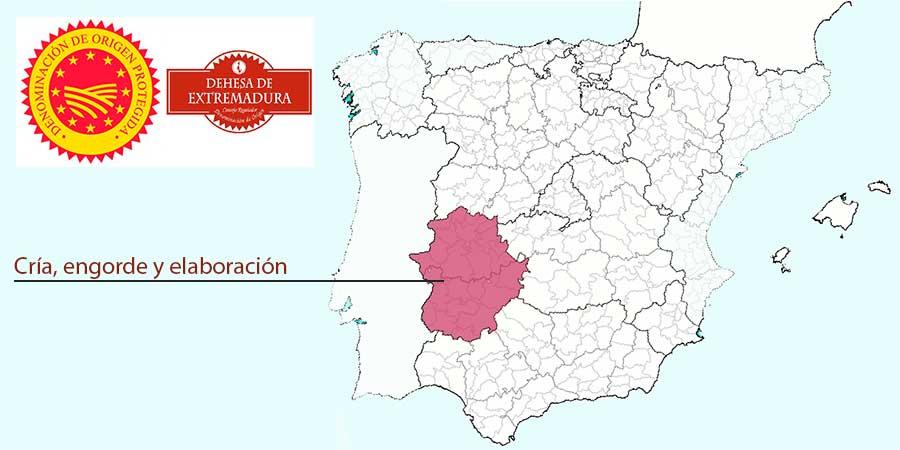 Mapa zona producción jamones Denominación de Origen Extremadura