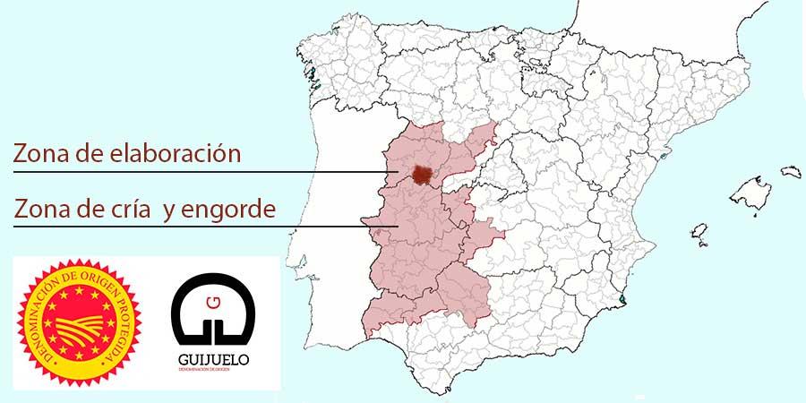 Mapa zona producción jamones DOP de Guijuelo