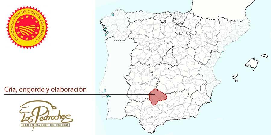 Mapa zona producción jamones DOP Los Pedroches