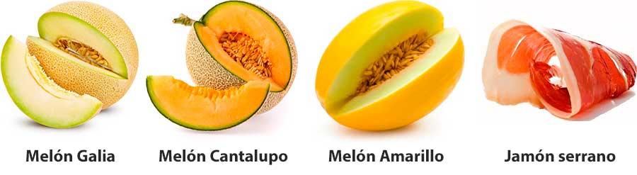 Ingredientes pincho melón con jamón