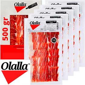 Jamón ibérico loncheado Olalla 5x100 gr.